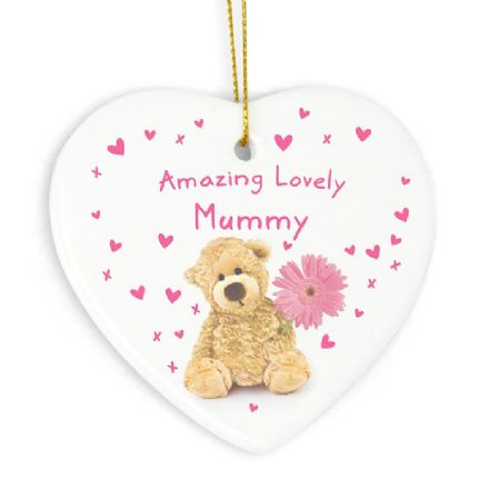 Personalised Teddy Flower Heart Decoration